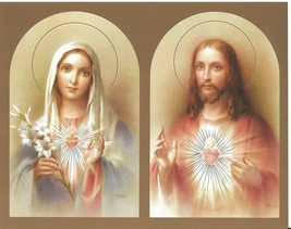 "Catholic Print Picture SACRED HEART JESUS + IMMACULATE HEART of MARY 8x10"" - $14.01"