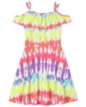 NWT The Childrens Place Girls Tie Dye Ruffle Off Shoulder Dress - $10.99