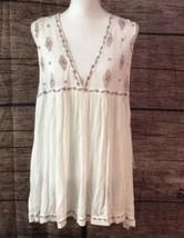 Free People Ivory Combo Dress/Tunic, Large, Rayon, Sleeveless - $64.99