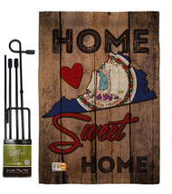 State Virginia Home Sweet Burlap - Impressions Decorative Metal Garden Pole Flag - $33.97