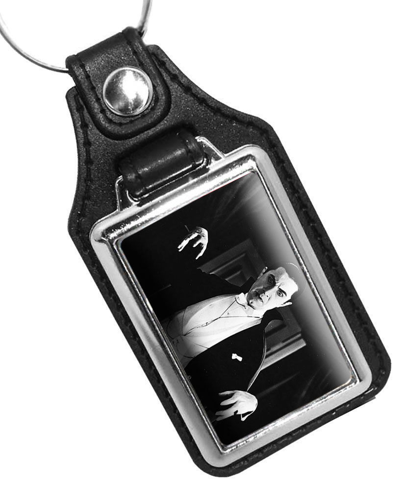 Primary image for BELA LUGOSI DRACULA MONSTER SHOW FAUX LEATHER KEY RING KEYCHAIN MADE IN USA