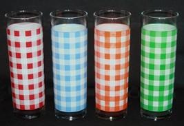 4 Ralph Lauren Checkered Checks Tall Glass Tumblers HiBalls EXC/NEW Rare - $38.99
