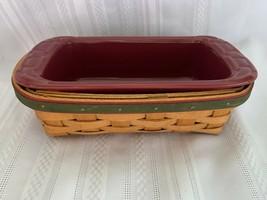 "Longaberger 2006 Holiday Helper Basket Set with Paprika 8"" Small Loaf Dish - $37.39"
