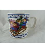 Lucy & Me 1990 Enesco Coffee Mug Christmas Bears on Sled in snow - $11.87