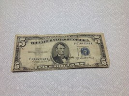 1953-A $5 Dollar Blue Seal Note Circulated Five Silver Certificate #3248A - $36.47