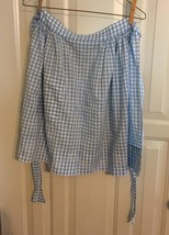 vintage light blue gingham apron - $4.95