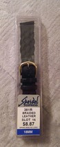New Speidel 18mm Black Genuine Leather Braided Watch Band (381R) - $8.48