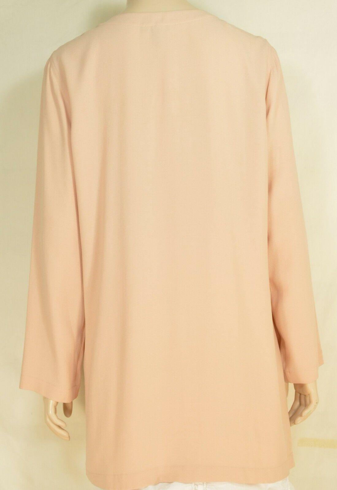 Eileen Fisher top tunic SZ M beige tan 100% silk long sleeve