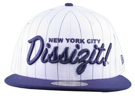 Dissizit New Era Fitted Baseball Cap White/Navy Pinstripe Hat new York City NYC image 2
