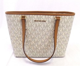 NEW MICHAEL KORS JET SET SIGNATURE VANILLA SMALL VIOLET CARRYALL HANDBAG... - $145.00