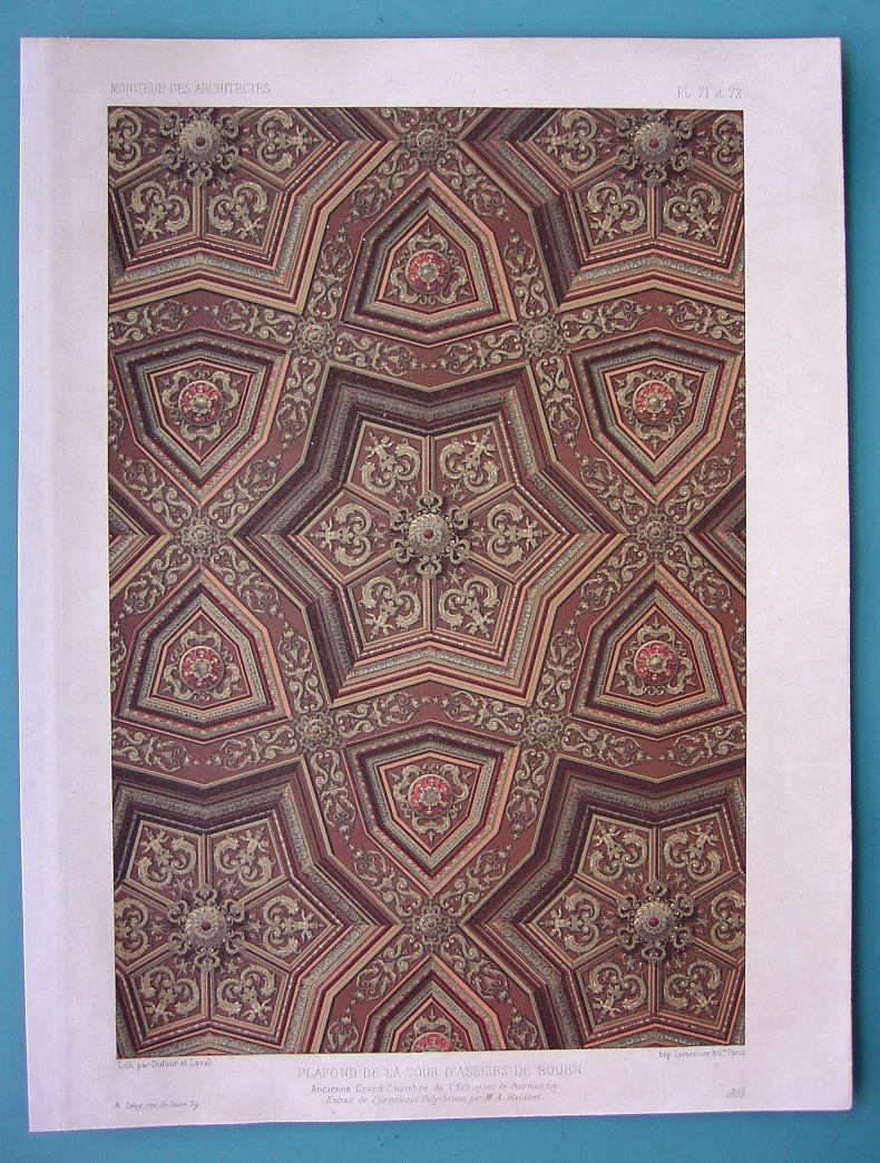 ARCHITECTURE COLOR PRINT 1869: ROUEN Ceiling in Palace of Justice France