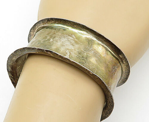 925 Sterling Silver - Vintage Rustic Hammered Raised Edge Cuff Bracelet - B5270