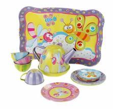 PANDA SUPERSTORE Cute Play Toys Cartoon Tin Tea Set for Kids, Dragonfly