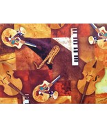 1/2 yd music/jazz keyboards guitar bass quilt fabric-free shipping - $11.99