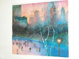 Robert Gantt Steele Watercolor, Wollman Rink Ice Skating, Central Park New York - $1,869.99