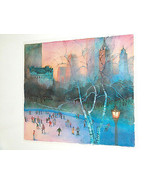 Robert Gantt Steele Watercolor, Wollman Rink Ice Skating, Central Park N... - $1,869.99