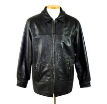 Luxe Pebbled Black Leather Bomber Flight Moto Jacket Quilt Lined Mens Si... - $24.74