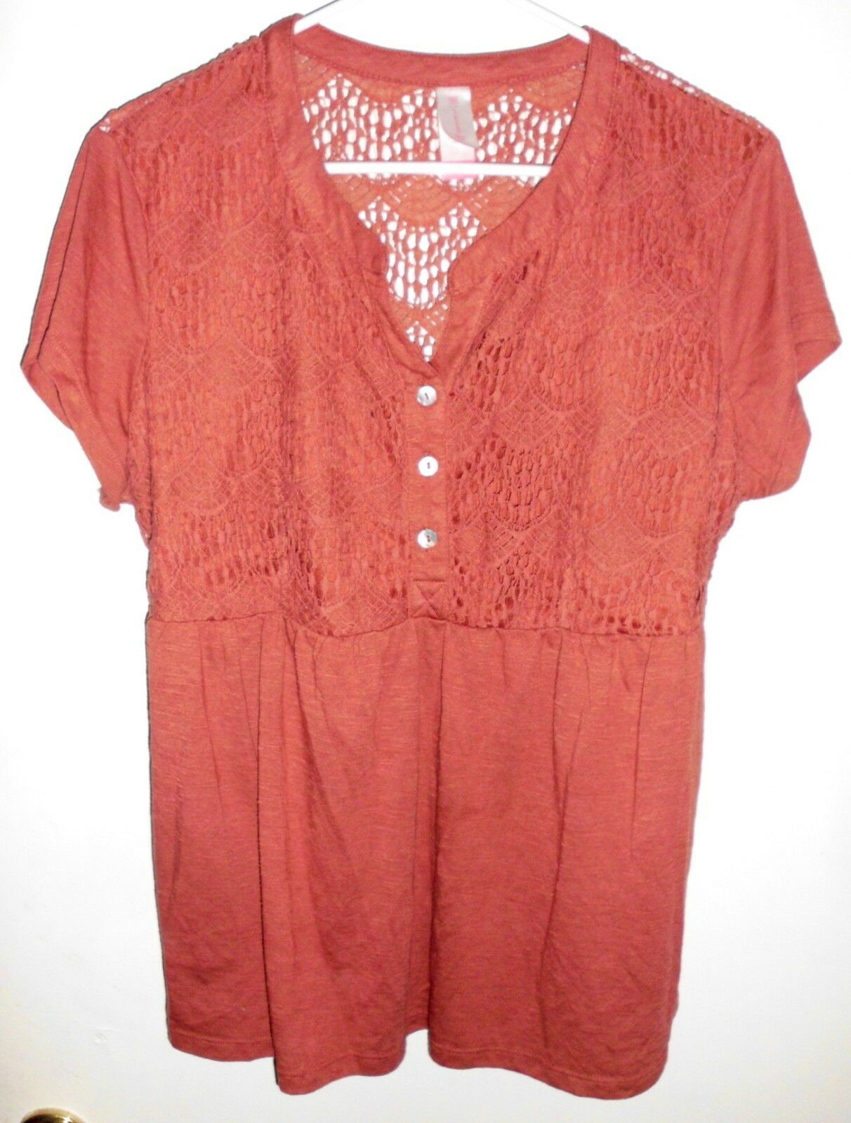 Primary image for NO BOUNDARIES Top Shirt Plus Sz 2XL Women Short Sleeve Half Lace Lined in Front
