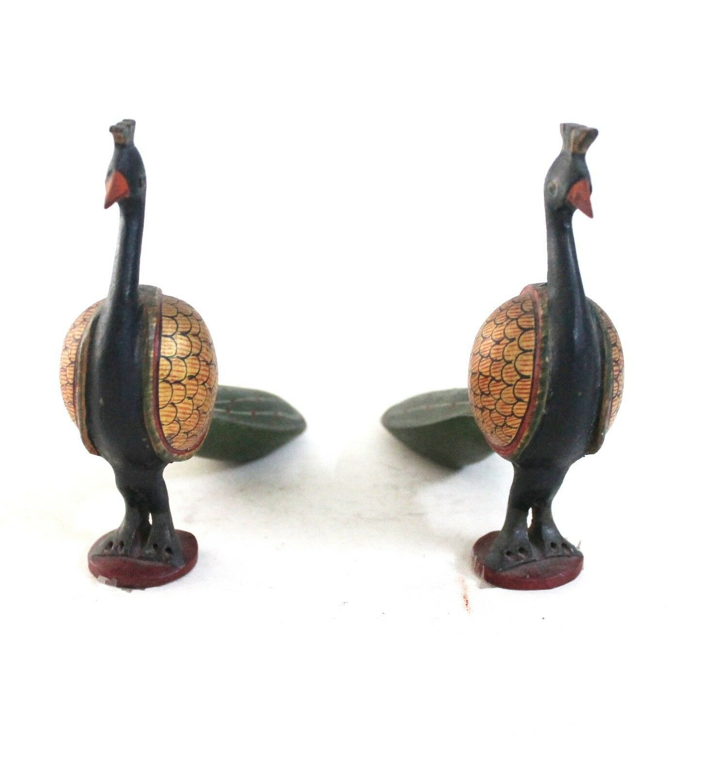 Peacock Pair Vintage Handcrafted Wooden Decorative Pieces Home Decor CA665WH