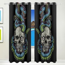 Vintage Blackout Curtains Skull With Scary Snake Boy Print Home Window C... - $89.00