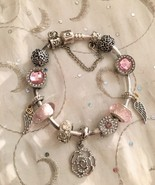 "Pandora Silver 7.5"" Bracelet With Pink CZ Charms beads, Flowers and Wings  - $134.95"