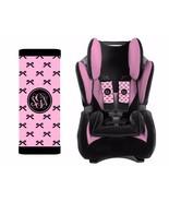 Monogram Baby Toddler Car Seat Strap Covers Set of 2 Pink Black Bows - $14.68