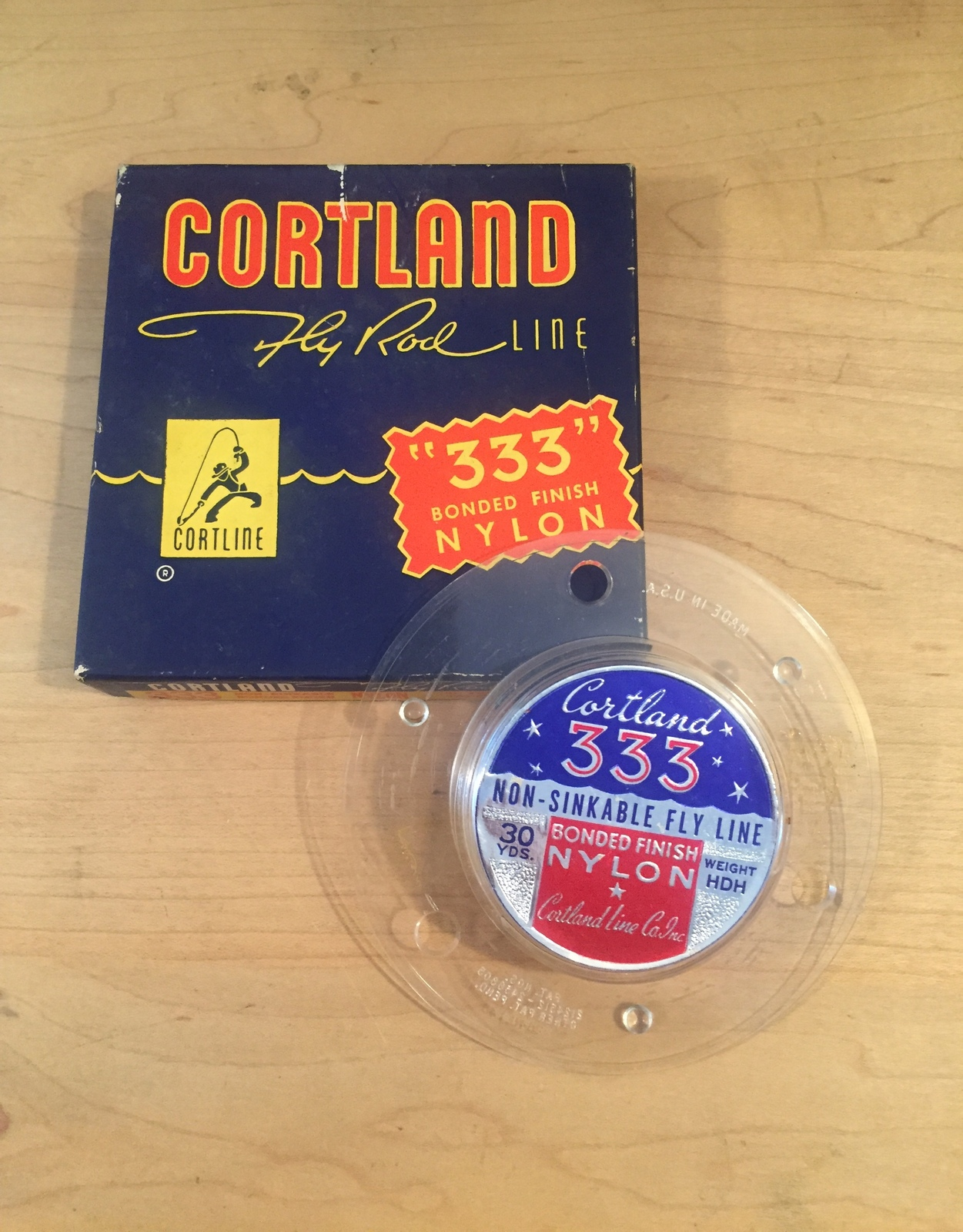Vintage Cortland fly rod line packaging and spool