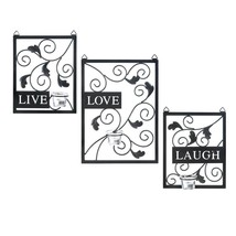 LIVE LAUGH LOVE Wall Decor Candle Sconce Metal Plaque Set - $32.88