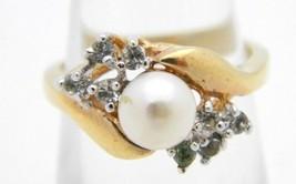 14k H.G.E. Gold Genuine Pearl Clear Rhinestone Ring Size 5.25 - $39.60