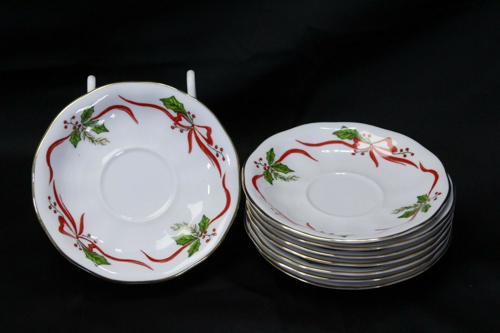 "Primary image for Favolina Poland Xmas Saucers 5.75"" Lot of 8"
