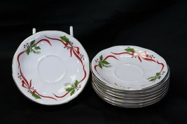 "Favolina Poland Xmas Saucers 5.75"" Lot of 8 - $33.27"