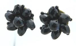 HONG KONG Gold Tone Black Faceted Plastic Bead Clip Earrings Vintage - $13.86
