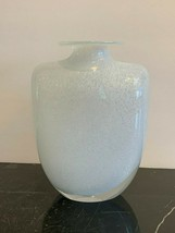 Kosta Boda Blue Speckled White Vase Artist Signed and Numbered 48896 - $78.21