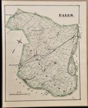 1876 antique FALLS PA MAP from bucks county atlas j d scott ORIGINAL - $47.50
