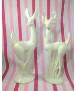 Mid Century Modern Tall Deer Statues • Large Buck and Doe Ceramic Figuri... - $40.00