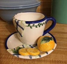 Bella Casa 3D Orange Cup & Saucer by Ganz NEW W... - $16.82
