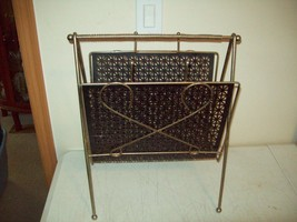 Mid Century magazine rack Brass with black squares GREAT vintage decor p... - $19.80