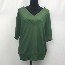 JONES NEW YORK WOMAN Green V-Neck Sweater Top Short Sleeves - Sz XL NWT - $21.58