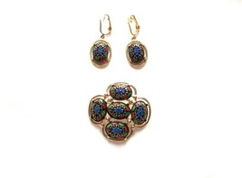 VINTAGE SARAH COVENTRY Light of the East Mosaic Brooch & Dangle Earring Set - $25.04