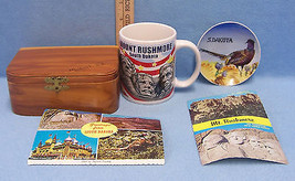 Vintage South Dakota Mt Rushmore Souvenir  Postcard Cup Wood Box Plate L... - $18.80