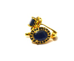 925 Sterling Silver Natural Fine Quality Blue Sapphire Gemstone Gold Plated Arti image 3