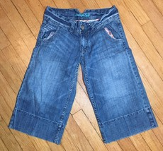 AMERICAN EAGLE Womens Juniors Light Wash Denim Stylish Capris Shorts Size 0 - $14.03