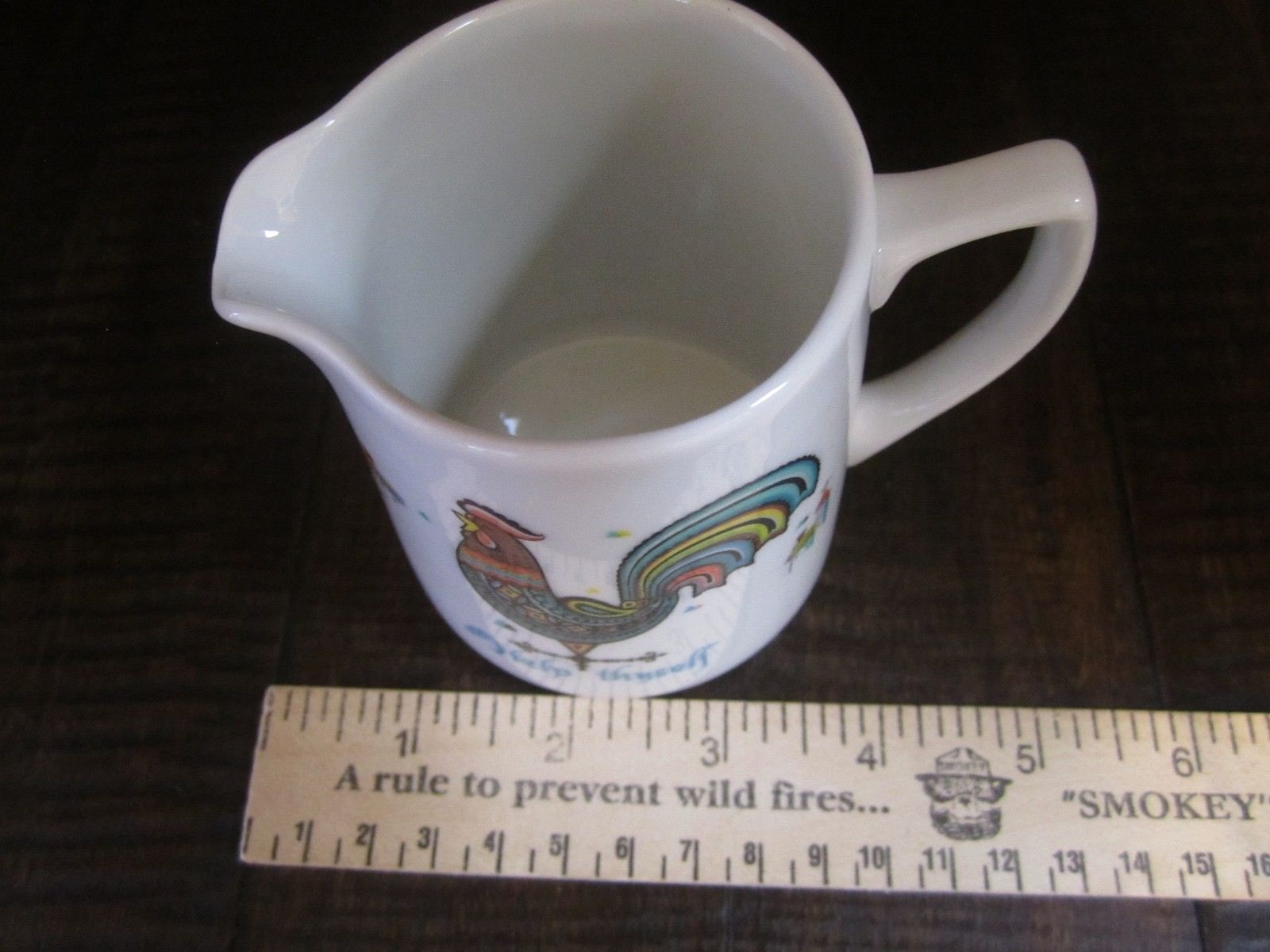 Berggren small pitcher Rooster Flowers Houses Creamer Help Thyself