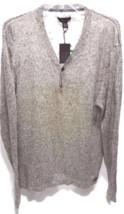 Tasso Elba Henley Neck Khaki Marled Cotton Pullover Sweater SIZE L  MSRP... - ₨3,052.97 INR