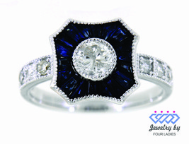 Blue Sapphire Gemstone 14K White Gold 1.26CT Natural Diamond Party Wear ... - $5,452.00