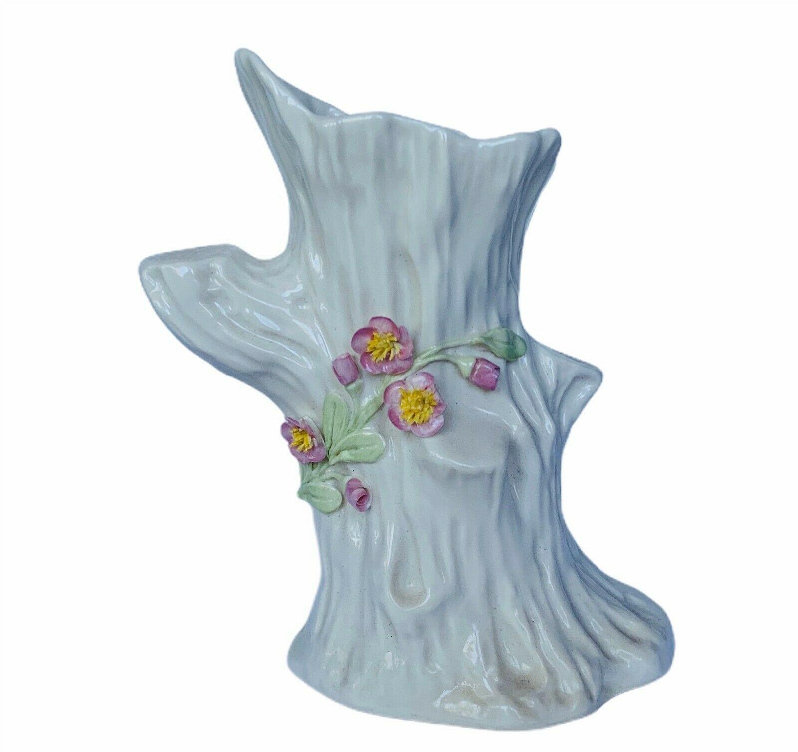 Belleek vase flower planter Ireland porcelain tree stump floral vtg retrospect - $48.33