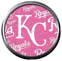 MLB Baseball Kansas City Royals Logo KC On Pink 18MM - 20MM Snap Jewelry... - $5.95