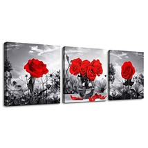 Canvas Wall Art for Bedroom Black and White Landscape red Rose Flowers B... - $25.16