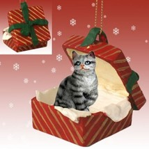 SILVER TABBY CAT DOG CHRISTMAS GIFT BOX ORNAMENT HOLIDAY Present - $14.95