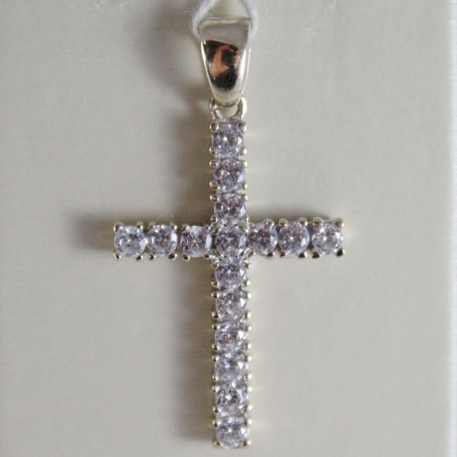 18K WHITE GOLD CROSS WITH ZIRCONIA 0.80 CARATS, 1.18 INCHES, MADE IN ITALY